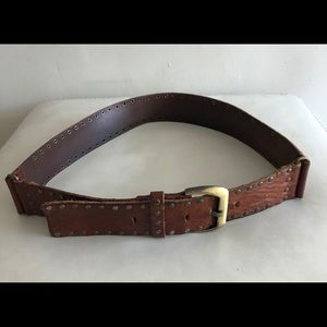 Accessories - Leather studded buckle belt